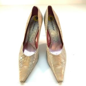 Croc Embossed Leather Pointed Toe Pumps Cream Sz 9
